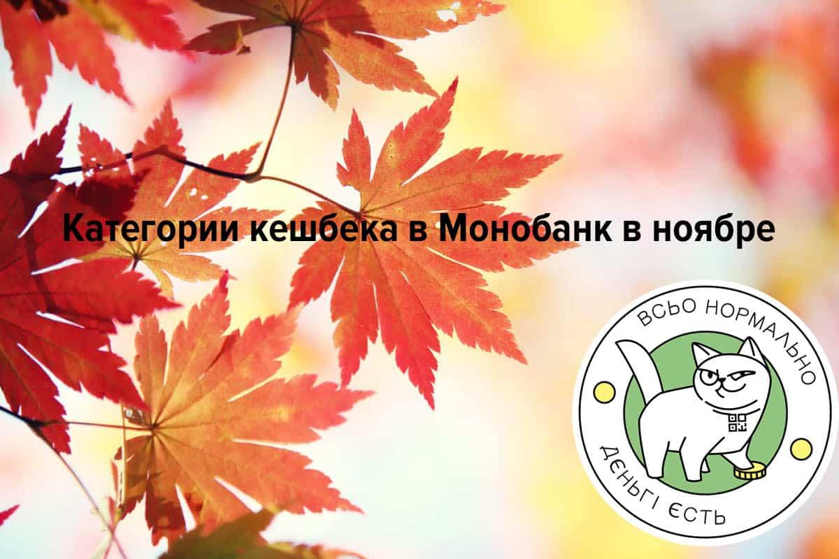 Категории кешбека в Монобанк на ноябрь 2020